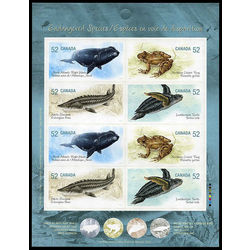 canada stamp complete booklets bk bk358 booklet endangered species 2 2007