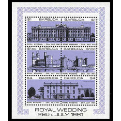 barbuda stamp 494 royale wedding 1981