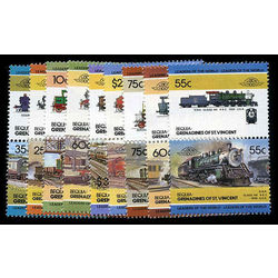 bequia of st vincent stamp 6 10 13 19 20 22 30 34 50 mint locomotives inc 1985