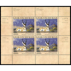 saskatchewan wildlife federation stamp sw6b antelopes by tom mansanarez 1995