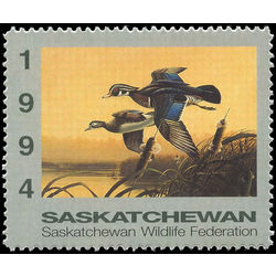 saskatchewan wildlife federation stamp sw5 wood ducks by wayne dowdy 6 1994 m single