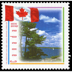 canada stamp 1546i flag with scene of lake 43 1995