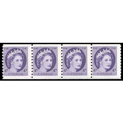 canada stamp 347ii strip queen elizabeth ii 4 1954