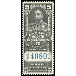 canada revenue stamp fwm60 george v weights and measures 5 1930