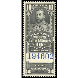 canada revenue stamp fwm61 george v weights and measures 10 1930