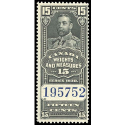 canada revenue stamp fwm62 george v weights and measures 15 1930