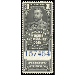 canada revenue stamp fwm64 george v weights and measures 30 1930
