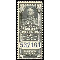 canada revenue stamp fwm65 george v weights and measures 50 1930