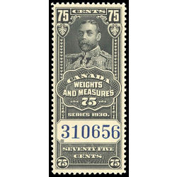 canada revenue stamp fwm66 george v weights and measures 75 1930