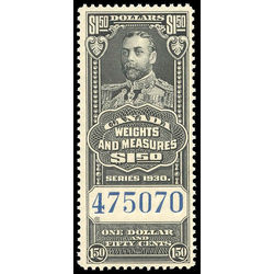 canada revenue stamp fwm68 george v weights and measures 1 50 1930