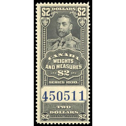 canada revenue stamp fwm69 george v weights and measures 2 1930
