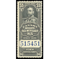 canada revenue stamp fwm70 george v weights and measures 5 1930
