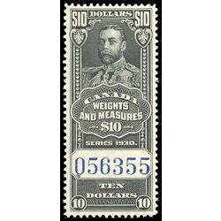 canada revenue stamp fwm71 george v weights and measures 10 1930