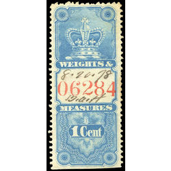 canada revenue stamp fwm6 crown weights and measures 1 1876