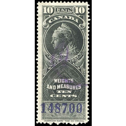 canada revenue stamp fwm46 victoria weights and measures 10 1897
