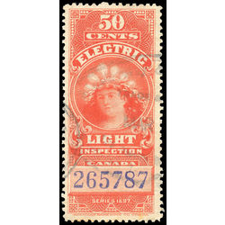 canada revenue stamp fe10 electric light effigy 50 1900