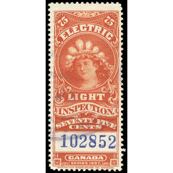 canada revenue stamp fe12a electric light effigy 75 1900