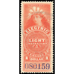canada revenue stamp fe13 electric light effigy 1 1900