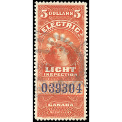 canada revenue stamp fe16 electric light effigy 5 1900