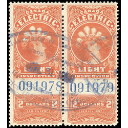 canada revenue stamp fe14b electric light effigy 1900