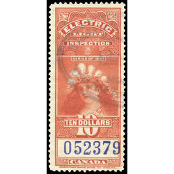 canada revenue stamp fe17 electric light effigy 10 1900