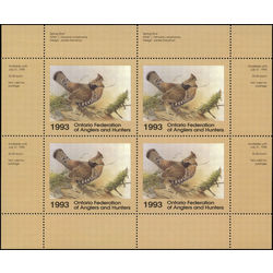 ontario federation of anglers hunters stamp ow1b ruffed grouse 1993