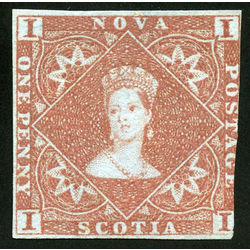 nova scotia stamp 1 pence issue victoria 1d 1853 m vg f 001