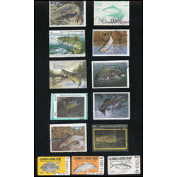 United states trout salmon license stamps range from 1965 1995