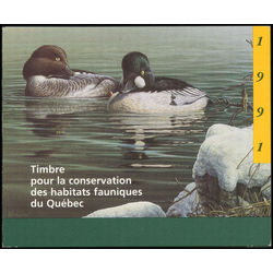 Quebec wildlife habitat conservation stamp qw4d common goldeneyes by pierre leduc 6 1991