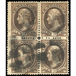 us stamp postage issues 209b jefferson 10 1881 block used 001