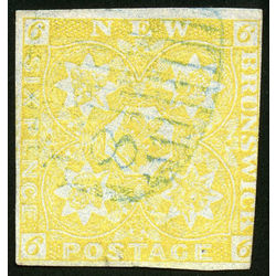 New brunswick stamp 2 pence issue 6d 1851 u vg 003