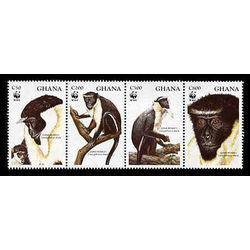 ghana stamp 1674 1677 world wildlife fund 1994