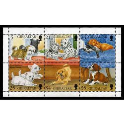 gibraltar stamp 702 puppies 1996