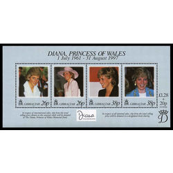 gibraltar stamp 754 diana princess 1998