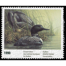 Quebec wildlife habitat conservation stamp qw3 common loons by pierre leduc 6 1990 single mvfnh