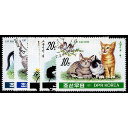 korea north stamp 3021 3025 cats 1991