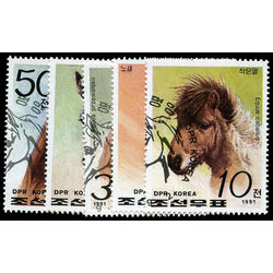 korea north stamp 3027 31 horses 1991