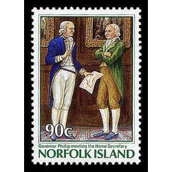 Norfolk island stamp 395 governor philip meeting the home secretary 1986
