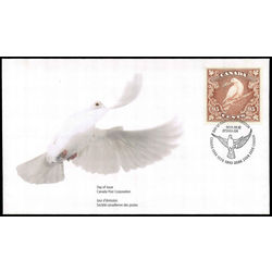 canada stamp 1814 dove of peace on branch 95 1999 FDC 001