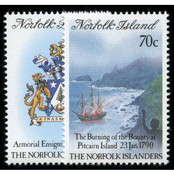 norfolk island stamp 469 70 settlement of pitcairn 1990