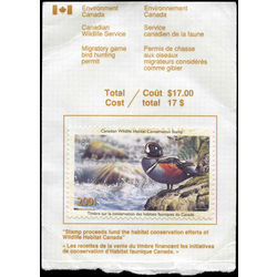 canadian wildlife habitat conservation stamp fwh17a harlequin duck 8 50 2001