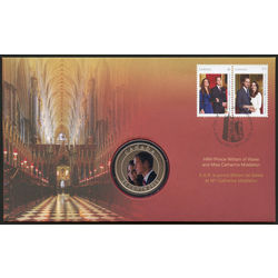 Prince william and catherine middleton cover with a nickel plated 25 cent coin