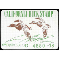 us stamp rw hunting permit rw ca2 canvasbacks california duck 1 1972 m 001