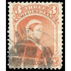 newfoundland stamp 33 queen victoria 3 1870 U VF 008