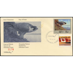 quebec wildlife habitat conservation stamp qw6 peregrine falcon by ghislain caron 6 1993 FDC 001