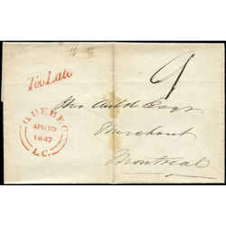 stampless cover of april 10 1847 from quebec to montreal stamping too late