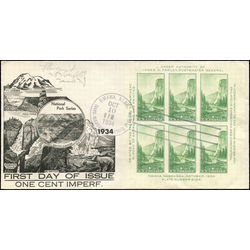 Us stamp postage issues 751 yosemite sheet of 6 1 1934 fdc 001