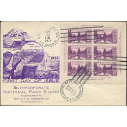 Us stamp postage issues 750 mt rainier mirror lake sheet of 6 18 1934 fdc 001