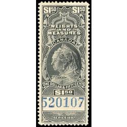 canada revenue stamp fwm52 victoria weights and measures 1 50 1897