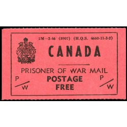 canada revenue stamp pwf6 prisoner of war franks 1946